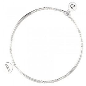 Bracelet élastique LOVE argent - Tubes lisses diamantés & Médaille texturée love - DORIANE BIJOUX