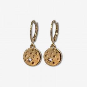 Boucles d'oreilles créoles MINITOILE doré - Médaille étoilée ronde & Strass - CHORANGE