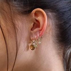 Boucles d'oreilles créoles MINITOILE doré - Médaille étoilée ronde & Strass