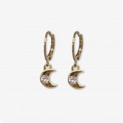 Boucles d'oreilles mini créoles MINILUNE dorées & Demi-lune strass rond Swarovski blanc CHORANGE