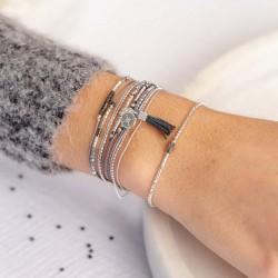 Bracelet fin élastique INFINITY KAKI SILVER - Tubes argent & Perle kaki TAILLE S