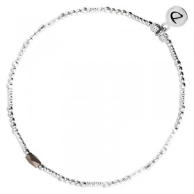 Bracelet fin élastique INFINITY KAKI SILVER - Tubes argent & Perle kaki DORIANE BIJOUX