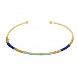 Bracelet Jonc CAMIRI doré tissé Turquoise & Bleu royal UNE A UNE