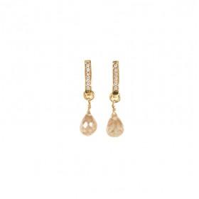 Boucles d'oreilles pendantes GOUTTE dorées - Zircon blanc & Pierre de Lune orange  - Une à une
