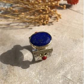 Bague large ethnique argent doré Lapis Lazuli ovale & Perles Rouge Corail - MADEMOISELLE SISSI