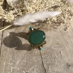 Bague en argent - Pierre Chrysoprase verte & Perles turquoises TAILLE 54