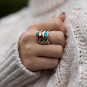 Divine bague aux trois pierres Chrysoprase Rubis Indien et Turquoise CANYON