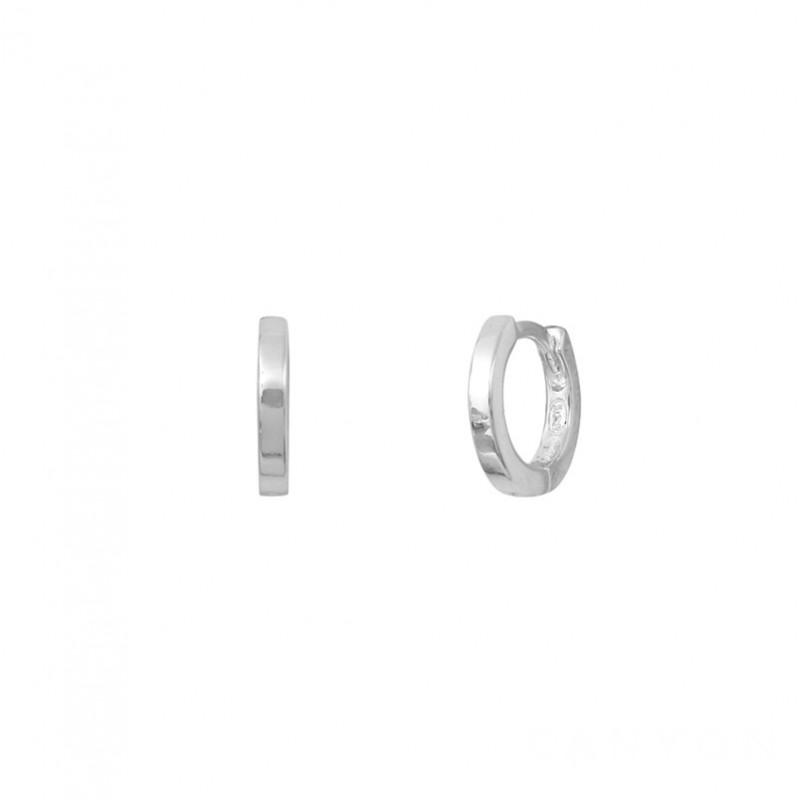 Boucles d'oreilles Mini Créoles MYRNA en argent & Section plate signées CANYON