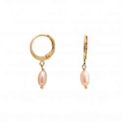 Boucles d'oreilles mini créoles CLEA Or - Dormeuses & Perles roses NILAI