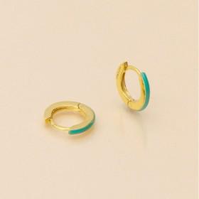 Boucles d'oreilles mini créoles PASSION doré - Email Turquoise UNE A UNE