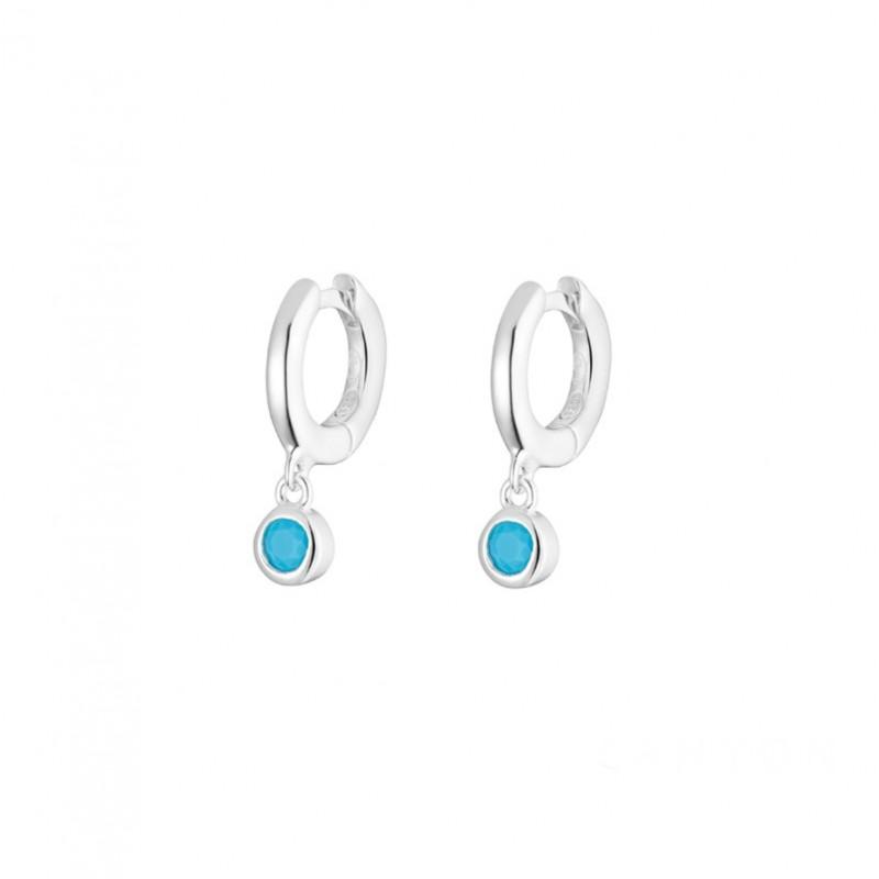 Boucles d'oreilles mini créoles en argent & Petites Turquoises CANYON