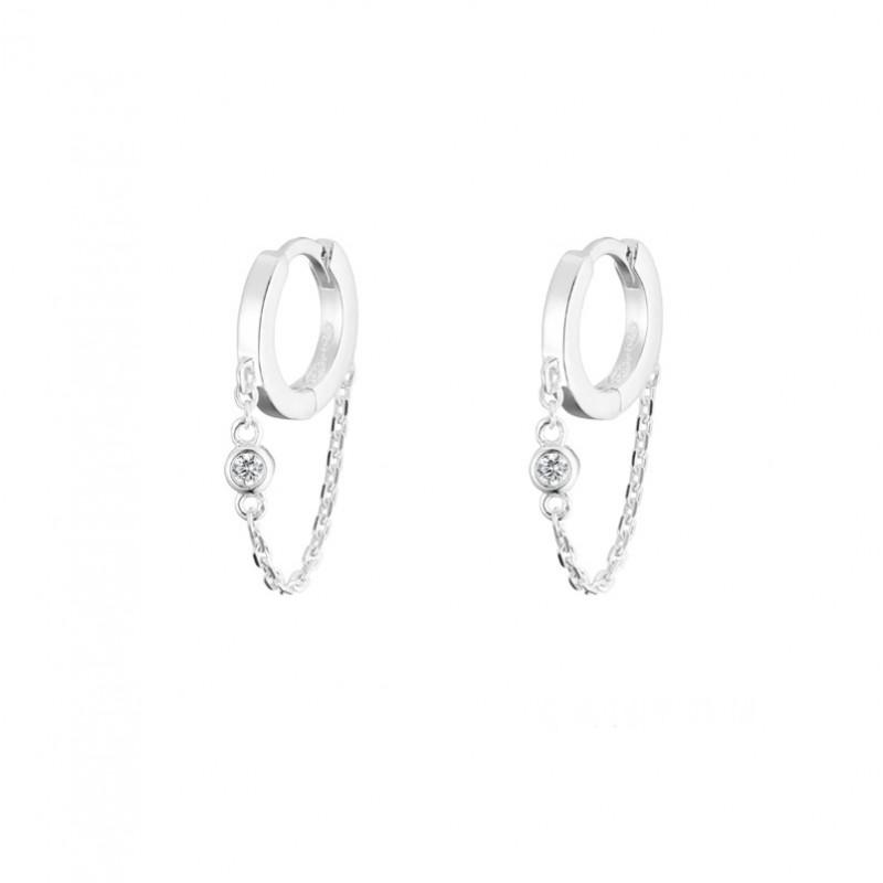 Boucles d'oreilles mini créoles argent Chaîne & Zircon blanc CANYON