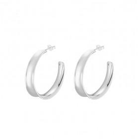 Boucles d'oreilles Créoles en argent incurvées lisses 3 cm CANYON