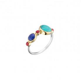 Bague Anneau fin argent doré - Lapis Turquoise & Perles corail CANYON