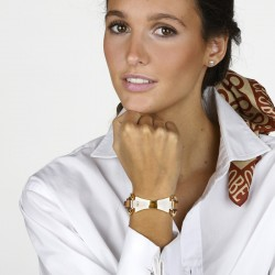 Bracelet PLAQUE doré - Ceinture cuir camel & Plaque mors