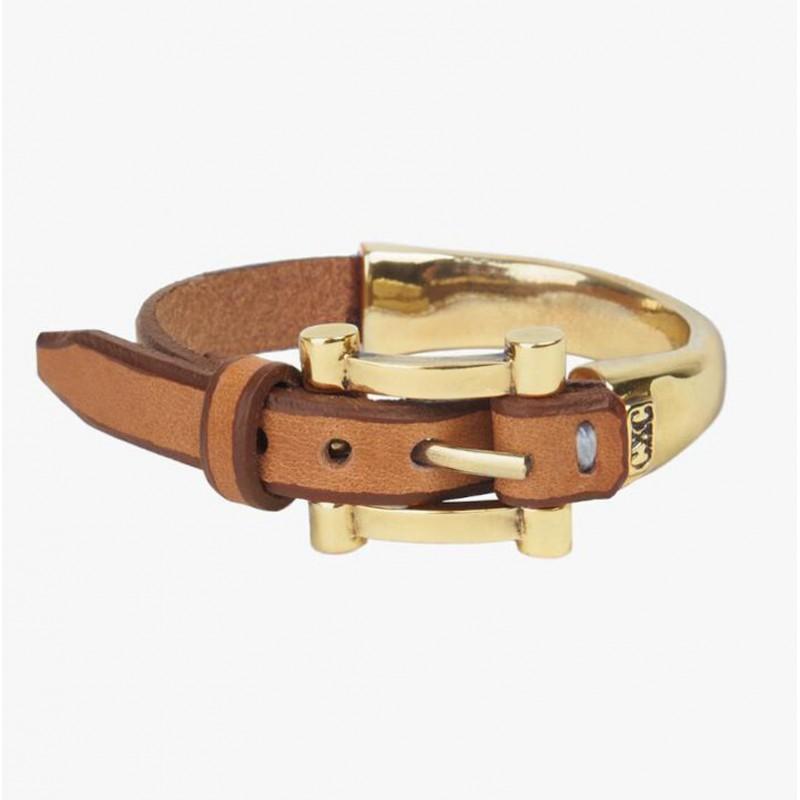 Bracelet jonc BELT doré - Cuir camel & Boucle de ceinture - CXC