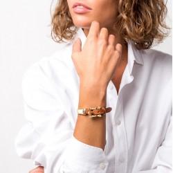 Bracelet Gourmette BELT doré - Ceinture cuir & Boucle