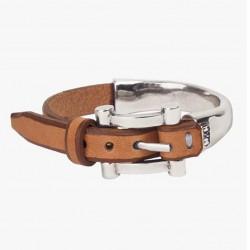 Bracelet jonc BELT métal - Cuir camel & Boucle de ceinture CXC