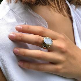 Bague large argent pierre de lune ovale & perles corail
