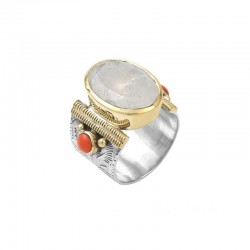 Bague Canyon - Bague large argent pierre de lune ovale & perles corail