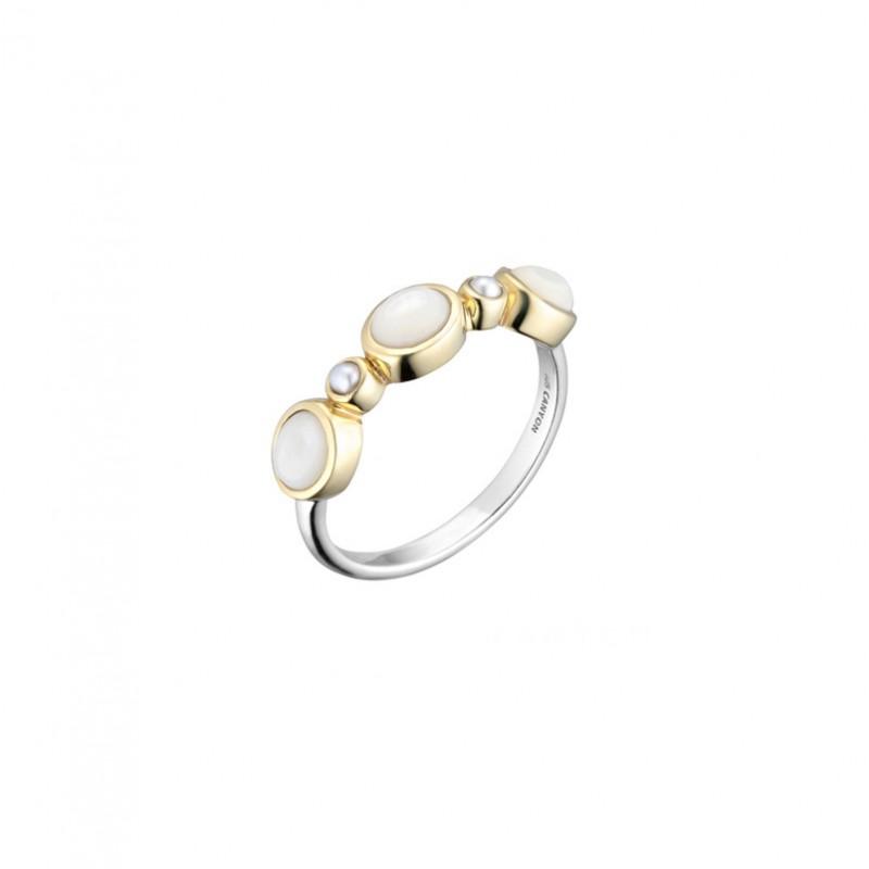 Bague argent doré - 3 Nacres & 2 perles blanches  CANYON