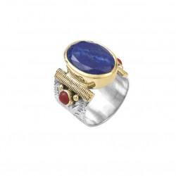 Bague ethnique argent doré Lapis Lazuli ovale & Perles Rouge Corail CANYON