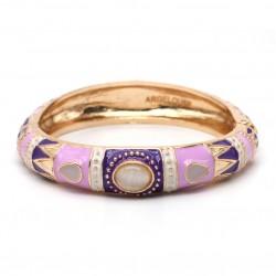 Bracelet Jonc Ethnique Doré Cabochons - Lilas & Violet ARGELOUSE