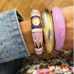 Bracelet Jonc Ethnique Doré Cabochons - Lilas & Violet