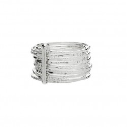Bague large Argent -  Quatorze anneaux fins stylisés Semainier - DIVA - DORIANE