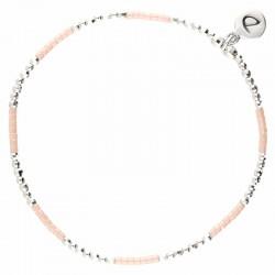 Bracelet élastique NEW BIRDY - Perles argent & Miyuki rose DORIANE Birdy