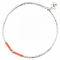 Bracelet élastiqué FLIRTING argent - Perles tubes & Perles corail signé DORIANE Bijoux