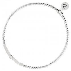Bracelet élastiqué FLIRTING - Tubes argent & Perles blanches DORIANE Bijoux