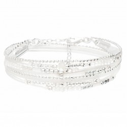 Bracelet multi-tours ATLANTA en argent - Cordons & Perles Blanc Opaline DORIANE BIJOUX