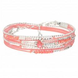 Bracelet multi-tours ATLANTA en argent - Cordons & Perles Rose Corail DORIANE