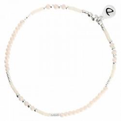 Bracelet élastiqué FLUFFY argent - Perles de verre & Miyuki crème ivoire DORIANE Bijoux