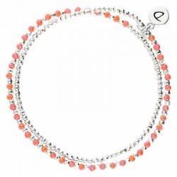 Bracelet élastique HEAVEN DOUBLE TOURS - Perles Argent & Corail DORIANE Bijoux