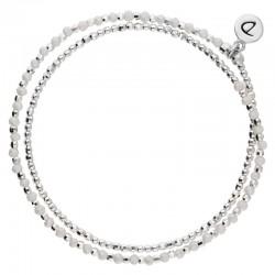 Bracelet élastique HEAVEN DOUBLE TOUR - Perles Argent & Opaline DORIANE Bijoux