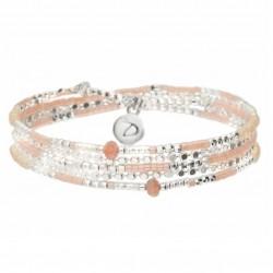 Bracelet élastiqué AJACCIO TRIPLE RANG argent - Perles beige & Rose DORIANE Bijoux