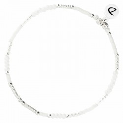 Bracelet élastique fin BRIGHT argent - Perles Tubes & Perles opaline DORIANE Bijoux