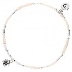 Bracelet élastiqué INDIA argent - Perles ivoire & Profil indien DORIANE Bijoux