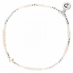 Bracelet élastiqué MYKONOS argent - Perles beige crème & NacreDORIANE Bijoux