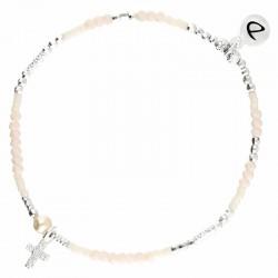 Bracelet élastiqué Crème - Perle nacre & Croix Oxyde DORIANE BIJOUX