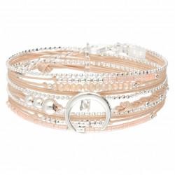 Bracelet multi-tours MOONLIGHT argent - Cordons Beige & Perles Rose  DORIANE BIJOUX
