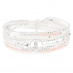 Bracelet TRIPLE TOUR argent - Perles blanc rose & Anneau diamanté DORIANE BIJOUX
