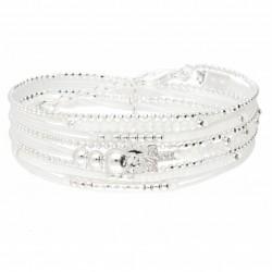 Bracelet manchette TRIPLE tours perles argent - Cordons blancs & Croix zircons DORIANE bijoux