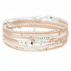 Bracelet manchette TRIPLE tour perles argent - Cordons beige & Croix zircons DORIANE Bijoux