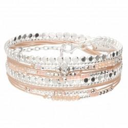 Bracelet manchette MOOREA DOUBLE TOUR argent - Chaînes rock & Perles beige rose DORIANE Bijoux