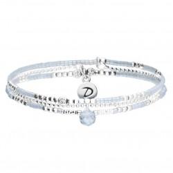 Bracelet élastiqué TRIPLE RANGS SPRING argent - Chaîne & Perles gris clair DORIANE Bijoux