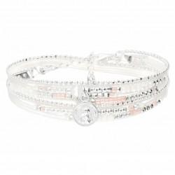 Bracelet double tour SIXTINE chaîne argent - Perles blanc rose & Ange DORIANE Bijoux