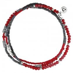 Bracelet Homme élastiqué multitours argent - Hématites grises & Miyuki rouge - DORIANE Bijux